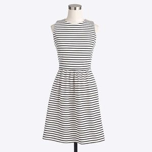 J. Crew Striped Daybreak Dress Black Ivory Petite